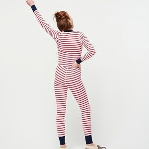 J crew dreamy striped cotton union suit pajamas